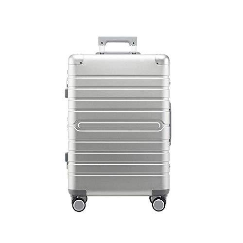 LSYOA Aluminium-Magnesium-Gepäck Kabine, 57 cm Universale Schwenkrollen Koffer Ausziehbar Super Leichter Trolley,Silver_24in