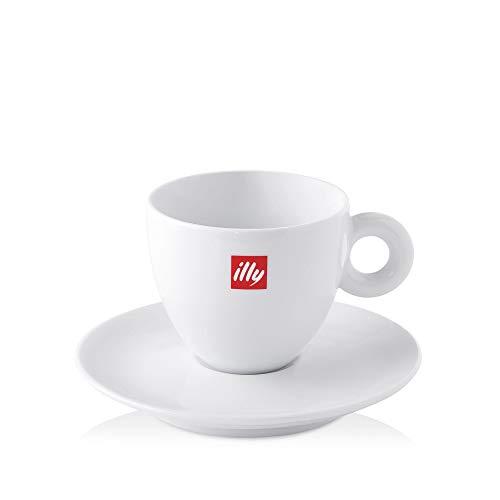 illy Set 2 Tazzine Caffè con Piattino in Porcellana Bianca