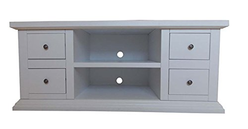 Meuble TV TV 4 tiroirs 2 compartiments à jour en bois Art pauvre Blanc