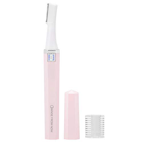 Recortador de cejas eléctrico, afeitadora indolora para hombres y mujeres, carga USB, color blanco(Rosa)