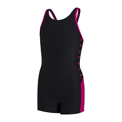 Speedo Boom Logo Splice Legsuit Mädchen Badeanzug, Schwarz/Electric Pink, 11-12 Jahre