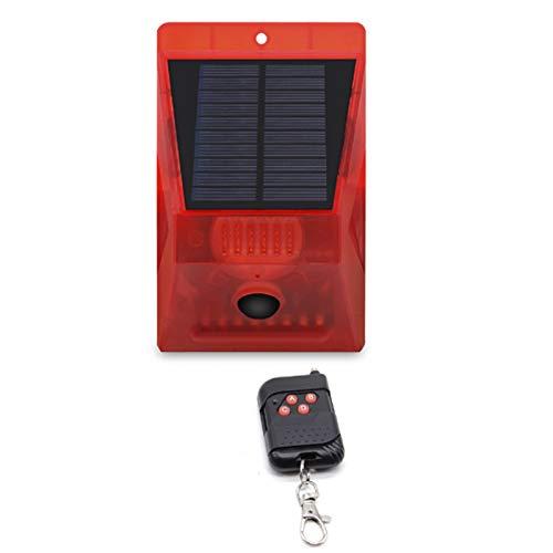CZZ11 Solar Security Light Alarm, IP65 Waterproof LED Motion Sensor Flashing Light Lamp, 129 Decibels Siren Sound Alert & Strobe Security Alarm System for Farm Villa