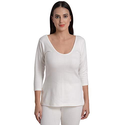 Fashiol ( F S top 34 White Women/Ladies/Girl Thermal Full Sleeves Shirt Top Full Sleeve Innerwear (32-40) (34) White
