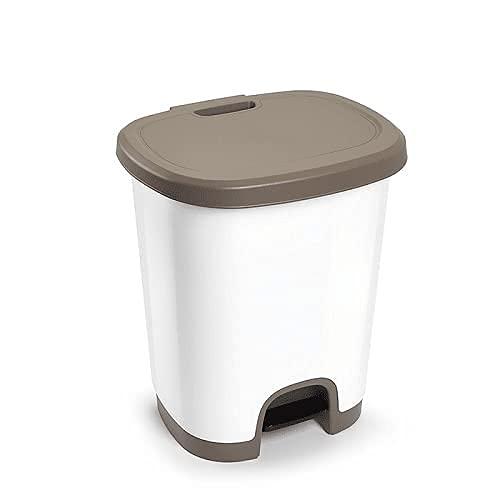 CABLEPELADO Cubo basura plastico apertura pedal 27 Litros (Marron)