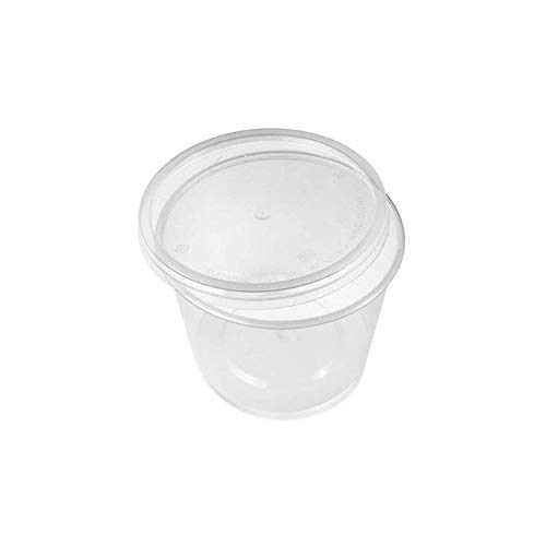 50 x 10oz PLASTIC ROUND CONTAINERS TUBS POTS & LIDS CLEAR MICROWAVE SAFE FOOD TAKEAWAY