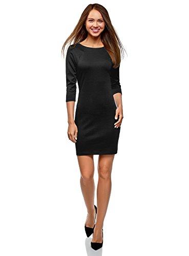 oodji Ultra Damen Enges Kleid mit Reißverschluss, Schwarz, DE 42 / EU 44 / XL