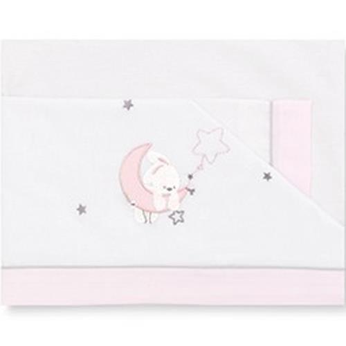 Pirulos 00313114 - Sábanas, diseño luna, 60 x 120 cm, color blanco y rosa