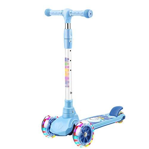 Dongxiao Scooter para Niños Scooter Plegable 3 Ruedas Scooter Intermitente PU Ruedas 3 Alturas Ajustables Patear Scooter para Niños Niños Niñas ( Color : Blue )