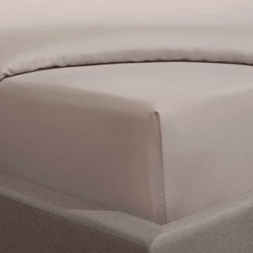 Sleepdown Sábana Bajera Ajustable (100% algodón, 25 cm, 300 Hilos), Color visón, Gris, Doublé