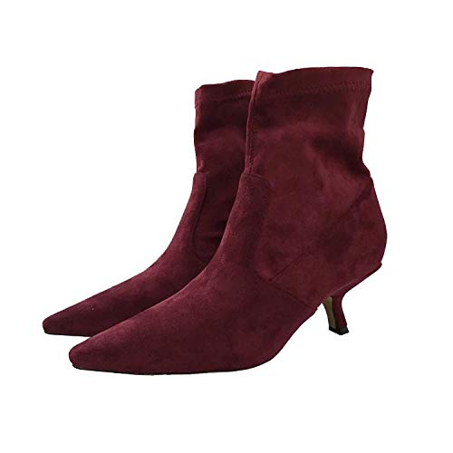 Shukun Enkellaarzen Stretch Boots, Sokken, Elastische Women'S Booties, Herfst En Winter Big-Name Suede Stiletto Women'S Boots