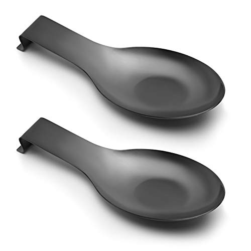 Pretty Jolly Stainless Steel Black Spoon Rest for Kitchen Counter Cooking Utensil Rest Spoon Ladle Holder for Stove Top Rust Resistant Large Size Spatula Rest Dishwasher Safe 9.61 x 3.74 Inch(2PCS)