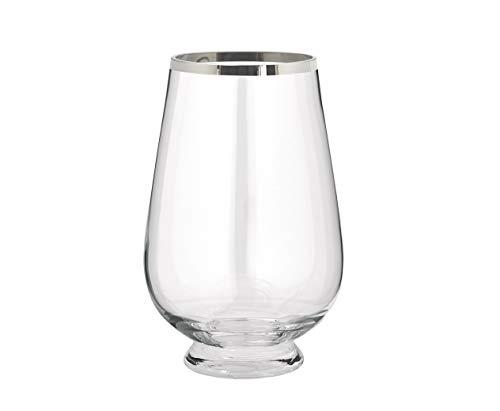 LORENA LIVING Kristallglasvase Lumen, runde große mundgeblasene Glasvase, veredelte Bodenvase mit einem Platinrand, perfekt für große Kunstblumen, H30cm
