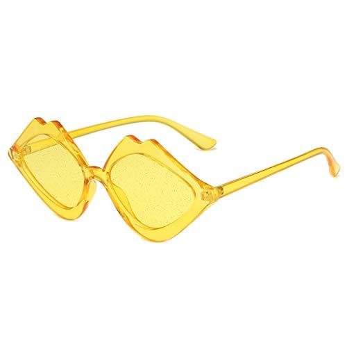 LABIUO Damen-Sonnenbrillen, Fashion Classic Gelee Farbe Lippen Muster Sun Glass Kunststoffrahmen Leichte UV-Schutz Sicherheit Brillen Sonnenbrillen(Gelb,Freie Größe)
