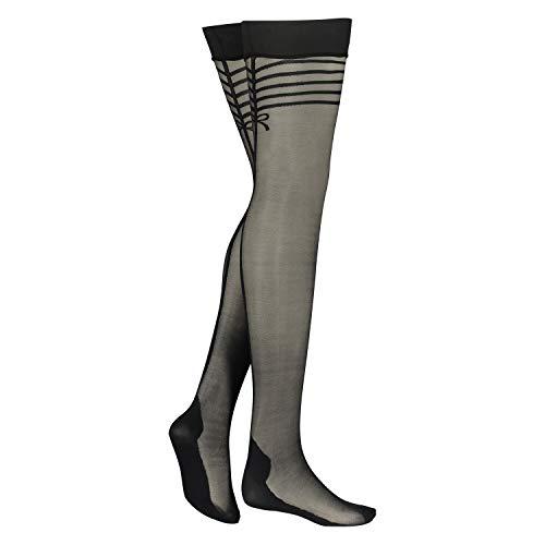 HUNKEMÖLLER Stockings 30 Denier Delicate Lines Schwarz S/M