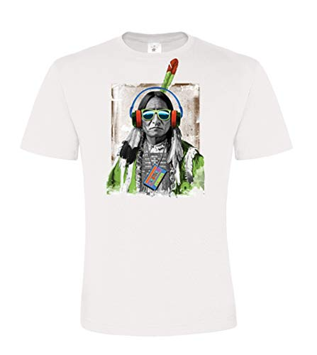 DarkArt-Designs Lifestyle T-Shirt Native Beats - Indien T-Shirt pour Messieurs - Motif Indien Ethnique Regular fit, Blanc, L