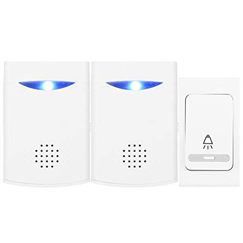 Draadloze deurbel op afstand, LED digitale deurbel Muziek Ring Bell met 1 zender 2 ontvangers Geschikt voor thuis/kantoor/hotel/gebouw