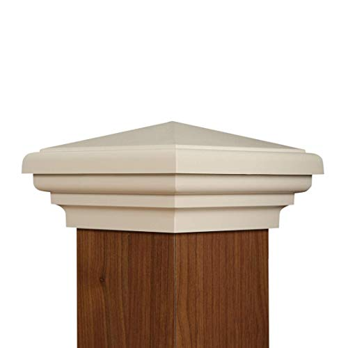 ATLANTA POST CAPS 4x4 Post Cap (3.5')   White New England Pyramid Style Square Top for Outdoor Fences, Mailboxes and Decks