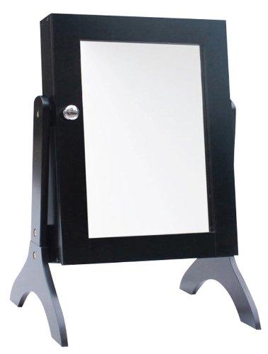 BURI Schmuckschrank mit Spiegel schwarz Standspiegel Schmuckkasten Kette Ring Ohrring