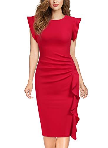 Miusol Casual Slim Fit Coctel Vestido de Lápiz para Mujer Nuevo Rojo Medium