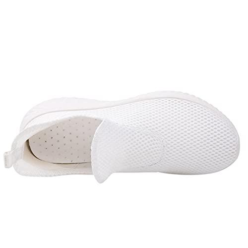 Winging Zapatillas de deporte de ocio al aire libre con cuñas transpirables planos para correr Calzado casual de suela gruesa de color sólido aumentado Zapatos casuales de moda para mujer