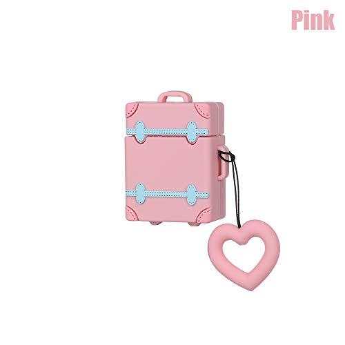 shihao159 Liefde Hart Stofdichte Vintage Oortelefoon Bescherming Cover Leuke koffer Bagage Case met Vinger Ring Band roze