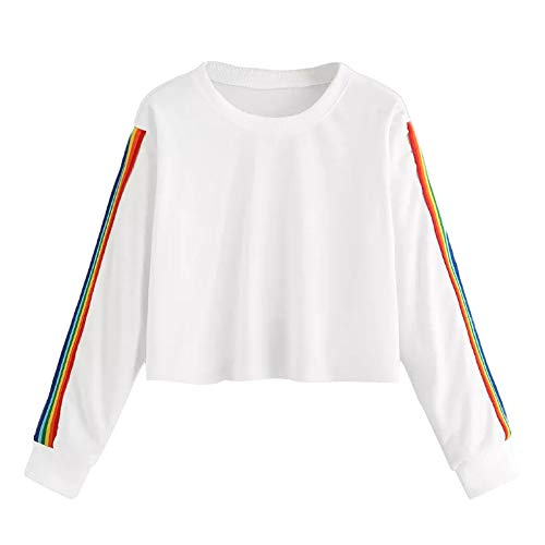Jaysis Pullover Sweatshirts Court Cropped Rainbow Rayure Imprimé Femme Sweat-Shirts Crop Top Crewneck Kpop Tee Shirt Manche Longue Sweater Chic Automne Hiver Chaud Pullover Casual Sport Pas Cher