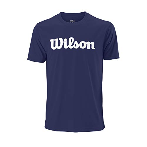 Wilson Herren UWII Script TECH Tee Tennis T-Shirt, Polyester, blau (Blue Depths)/weiß, L