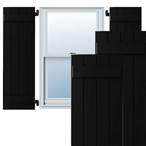 Ekena Millwork CWB15X047BLC Exterior Four Board (2 Batten) Composite Board-n-Batten Shutters (Per Pair) 15