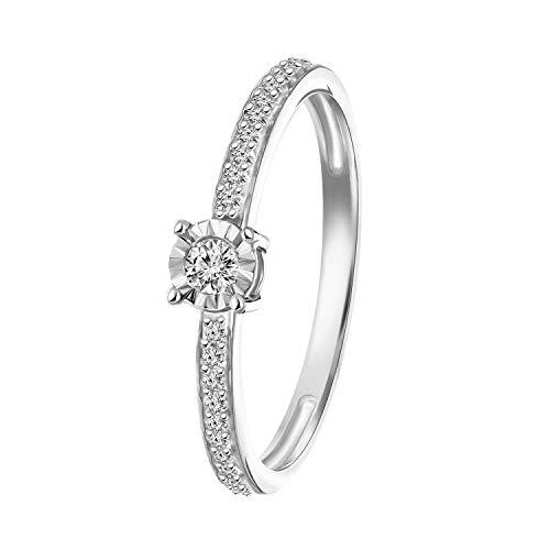Diamond Luxury - 585 Weißgold-Ring mit Diamanten - für Damen - Weiß
