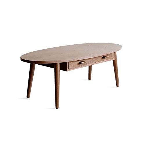 LRXGOODLUKE Ovale salontafel, massief houten salontafel met 2 lades Twee manieren trekken Stabiel en slijtvast Eenvoudig te monteren