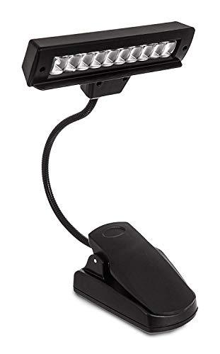 ADEPTNA - Lampada a clip, per leggio, con 10 LED a lunga durata, ricaricabile, flessibile, con 2 livelli di luminosità, cavo USB incluso, classe energetica A++