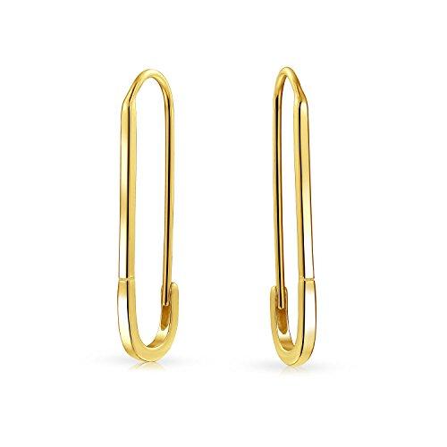 Soporte de símbolos inspiradores para refugiados seguro Pin Threader gota pendientes para las mujeres adolescentes 14K oro chapado 925 plata de ley