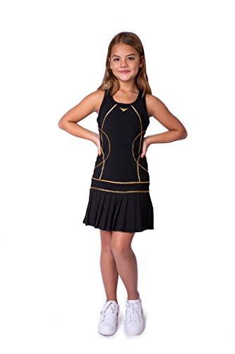 Vestido de tenis plisado negro para niñas, vestido de tenis junior, traje...