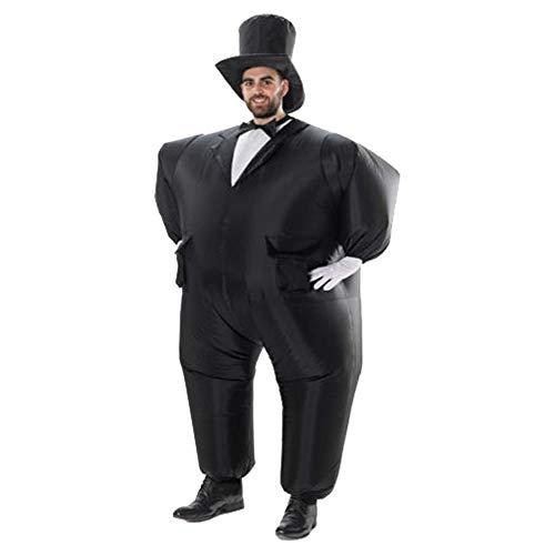ZHANGXJ Cosplay Traje de Novio de Esmoquin Inflable Disfraz Halloween Carnaval Fiesta Cosplay Fancy Dress Disfraces Novedad Juguetes para Adultos,Negro Vspera de Todos los Santos