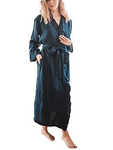 Albornoz de lino suave para mujer, de algodón kimonos, de color sólido, Azul, L