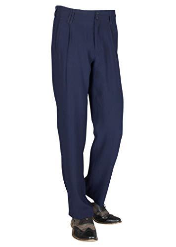 Bundfaltenhose Herren Mode in Dunkelblau, Business Stoffhose Herren mit Bundfalte Modell Swing Größe 54
