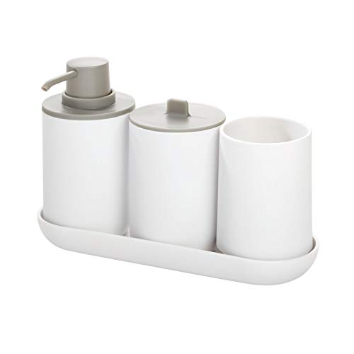Price comparison product image iDesign Bathroom Accessories Set,  4-Piece Sink Tidy with Soap Dispenser,  Toothbrush Holder,  Cotton Pad Dispenser and Tray,  Made of Plastic,  White / Grey