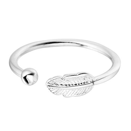 Anillo de plata de ley 925Lovely hojas bola abierta anillo para las mujeres chica fiesta Navidad regalo joyería encanto