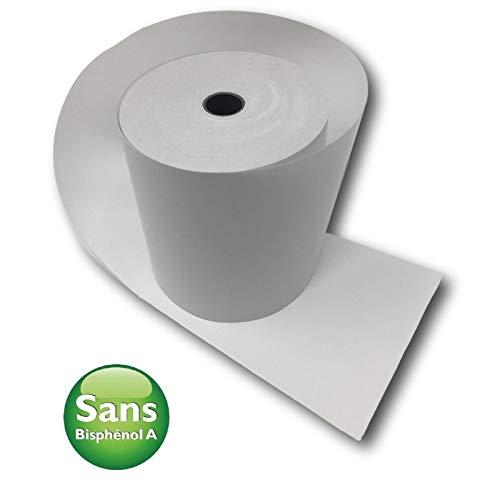 Carton de 50 bobines pour reçus 80 mm x 80 mm Papier thermique 55 g/m² sans Phenol. Blanc - rouleaux bobine de caisse ticket reçu