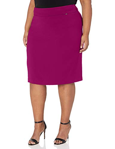 Tahari ASL Women's Plus Size Double Back Vent Pencil Skirt, Magenta, 18W