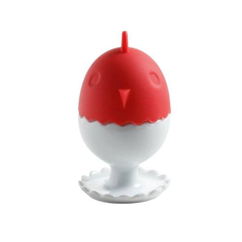 Maxwell & Williams JP3002 Eierbecher mit Silikonwärmer rot, Klarsicht-in Geschenkbox, Porzellan / Silikon