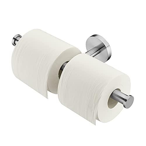 Toilettenpapierhalter Doppelt Klopapierhalter, Uvish Edelstahl Wc Papier Halterung Rollenhalter Klorollenhalter Wandmontage gebürstet klopapier Halterung für Küche und Badzimmer