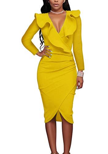 YMING Damen Figurbetontes Midi Kleid V-Ausschnitt Partykleid Sexy Langarm Kleid Gelb L/DE 40-42