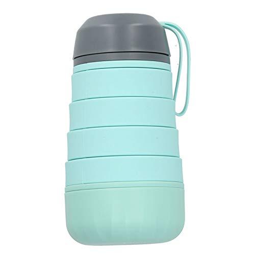 Hervidor para Deportes al Aire Libre, Botella de Agua de Silicona telescópica Plegable sin BPA, para Oficina en casa, Gimnasio de Viaje Azul/Rosa, Bicicleta(Green)