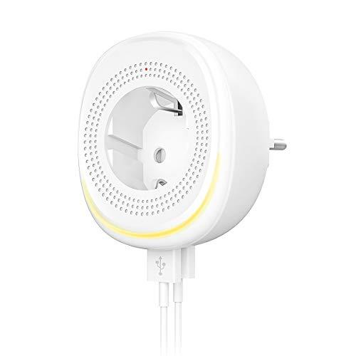 Orbecco WiFi Enchufe Inteligente de Versión UE, 2 Puertos de USB, con Tira de Luz LED Ajustable, Funciona con Alexa Echo, Google House, App Control Remoto, No Se Requiere Hub, 10A, Blanco