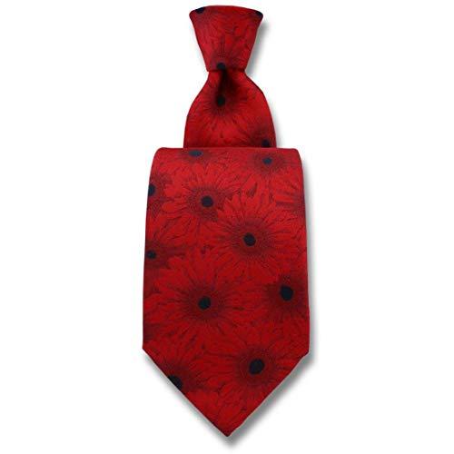Robert Charles. Cravate. Gerbera, Soie. Rouge, Fantaisie. Fabriqué en Italie.