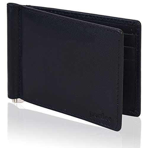 Portlee Genuine Leather Money Clip Wallet with Card Holder Slots (Black)