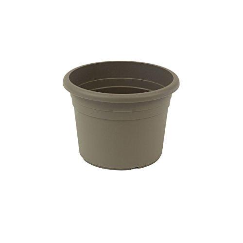 greemotion Pot de fleurs rond en plastique Ø 18cm 1,5L - Pot pour plantes extérieures et intérieures - Pot de jardin couleur taupe