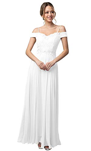 Top 10 Best Beaded Bodice Off-the-shoulder Chiffon and Lace a Line Wedding Dress Comparison