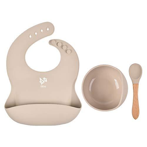 Set Alimentación para Bebés, Cuenco con base de succión y cuchara con Babero de Silicona (Pastel)